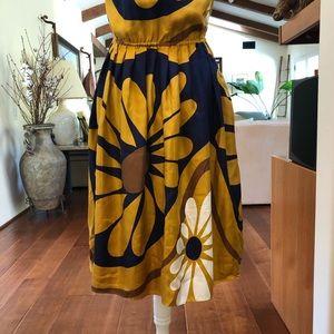 Anthropologie Dresses - Maeve 100% Silk Blue/Yellow Floral Mini Dress